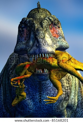 Tyrannosaurus Rex killing, eating and carrying a smaller dinosaur in its mouth.  Illustration - stock photo