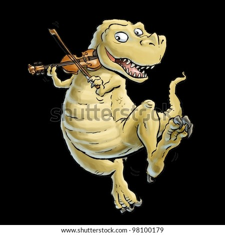Tyrannosaurus Rex Playing Fiddle - stock photo