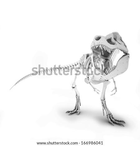 Tyrannosaurus Skeleton Isolated. Illustration - stock photo
