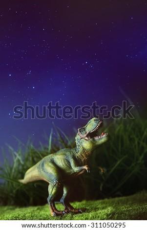 Tyrannosaurus toy on grass at night - stock photo
