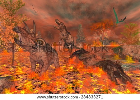 Tyrannosaurus, triceratops and pteranodon dinosaurs escaping or dying because of heat and fire due to a big volcanic eruption - 3D render - stock photo