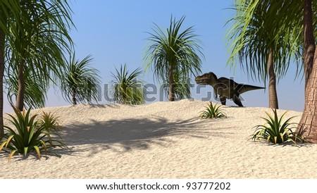tyrannosaurus un jungle - stock photo