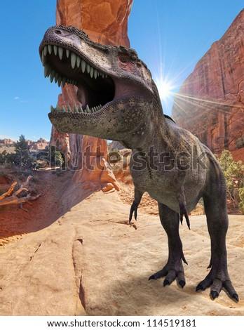 tyranosaurus on the rocks blue sky - stock photo