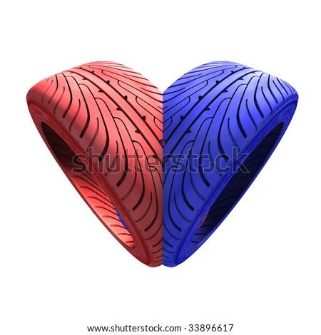 Tyre heart - stock photo