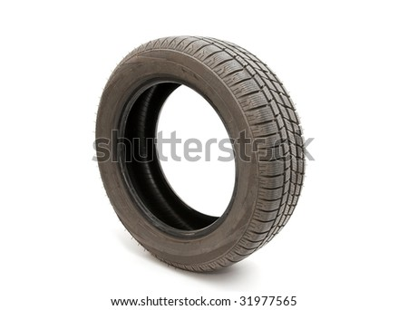 Tyre of a car isolated on white background - stock photo