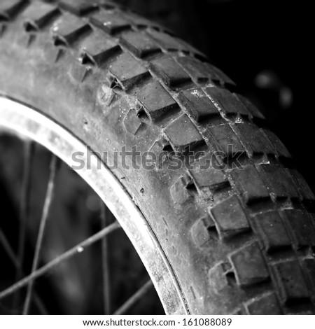 Tyre of motocross bike - stock photo