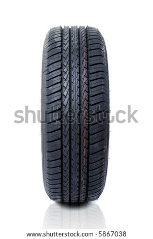 Tyre on white background - stock photo