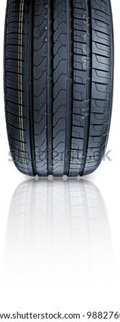 Tyre on white background - stock photo