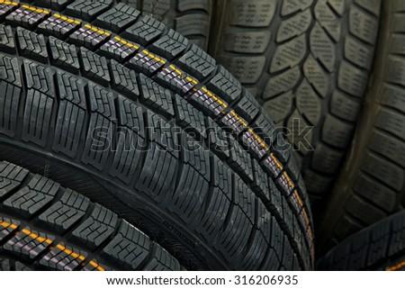 Tyre texture closeup of various patterns - stock photo