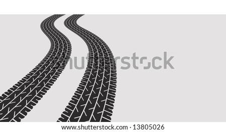 tyre tracks - stock photo