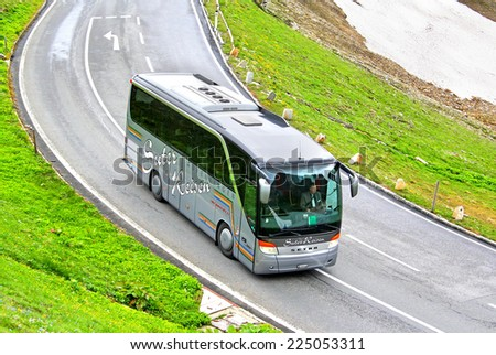 TYROL, AUSTRIA - JULY 29, 2014: German coach Setra S411HD at the Grossglockner High Alpine Road. - stock photo