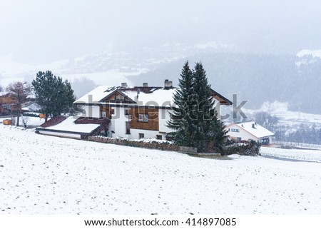 TYROL,AUSTRIA - 9 MARCH 2016: View on typical wooden chalet in Stubai valley,Austria