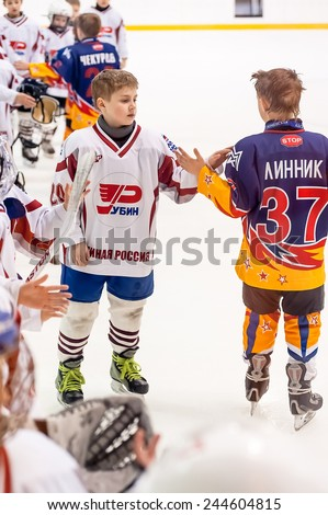 Tyumen, Russia - April 14, 2013: Hockey tournament on prize of name A.P.Vahrin among teams of children till 9 years old. Game between Rubin 04-Tyumen and Metallurg 04-Magnitogorsk - stock photo