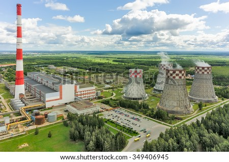 Tyumen, Russia - August 7, 2015: Aerial view on City Energy and Warm Power Factory working on gas fuel - stock photo