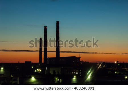 Tyumen, Russia - July 13, 2005: City Energy and Warm Power Factory at evening