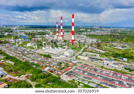 Tyumen, Russia - May 19, 2015: Aerial view on combined heat and power factory - stock photo