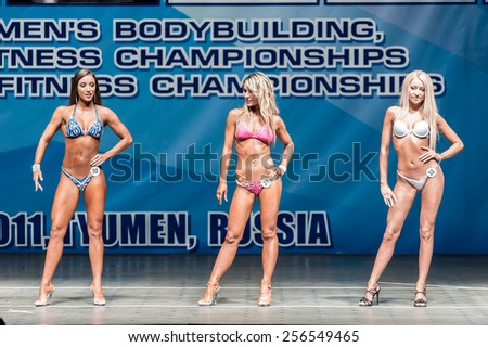 Tyumen, Russia - May 28, 2011: European Women Bodybuilding, Fitness, Bodyfitness, Bikini and Men Fitness Championships. Prejudging - Morning session - stock photo