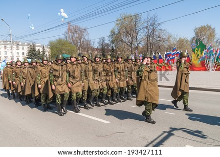 Tyumen, Russia - May 9. 2009: Parade of Victory Day in Tyumen. Army parade - military force uniform soldier row march - stock photo