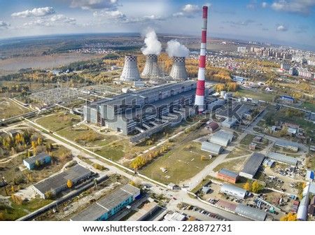Tyumen, Russia - September 30, 2014: Aerial view on combined heat and power factory number 2 - stock photo