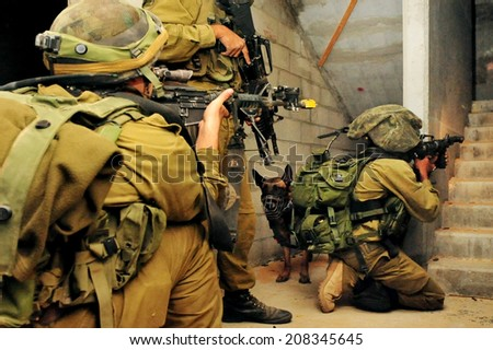 TZEELIM - NOV 10 2010:Israeli soldier during Urban Warfare exercise.Armed forces seek to train their units for those circumstances in which they are to fight. - stock photo