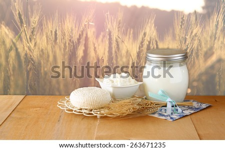 Tzfatit cheese , cottage and milk on wooden table  over wheat field at sunrise sun burst  background.  jewish holiday Shavuot concept - stock photo
