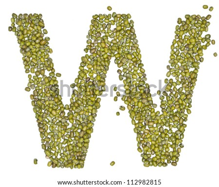 u, alphabet form green beans on white. - stock photo
