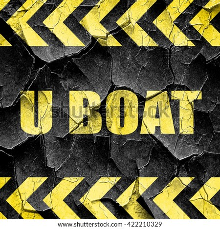 u boat, black and yellow rough hazard stripes - stock photo