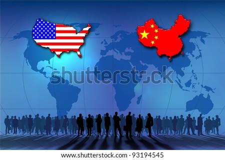 U.S.A. and China: background - stock photo