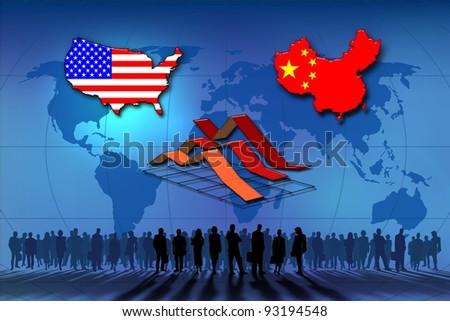 U.S.A. and China: statistics. - stock photo