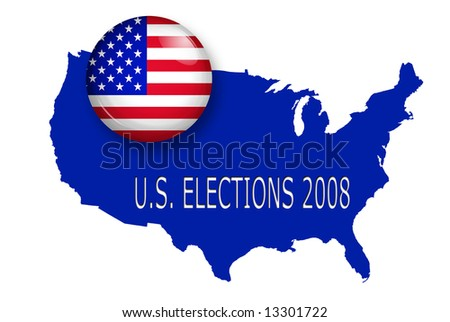 u.s.a. button over a map of united states with text for elections 2008 - stock photo