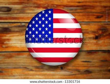 u.s.a. button over a wooden background - stock photo