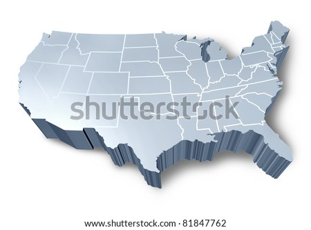 U.S.A 3D map isolated symbol represented by a white and grey dimensional United States. - stock photo