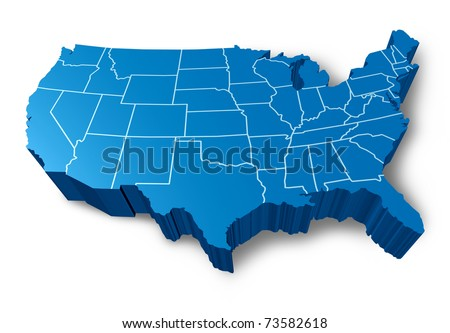 U.S.A 3D map symbol represented by a blue dimensional United States. - stock photo