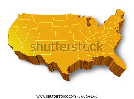 U.S.A 3D map symbol represented by a gold and yellow dimensional United States of America. - stock photo
