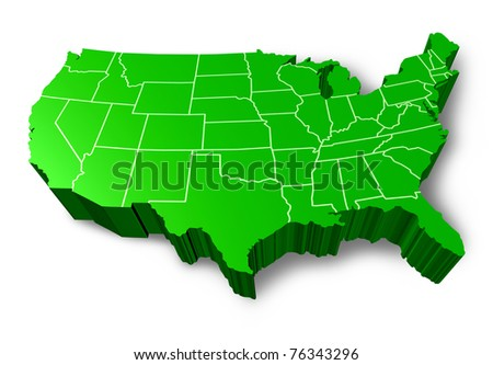 U.S.A 3D map symbol represented by a green dimensional United States. - stock photo
