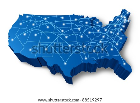 U.S.A 3D map technology communication network symbol represented by a blue dimensional United States with connecting web of fibre optic cell cables with shining center dots. - stock photo