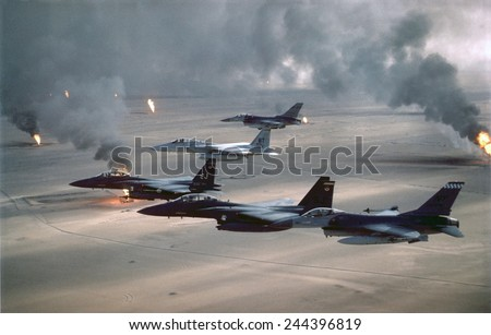 U.S. Air Force fighters patrol no-fly zone over Iraq. After First Gulf War in 1991 U.S. and Allied forces began Operation Southern Watch on Aug. 26 1992 to ensure Iraq's compliance with cease fire. - stock photo