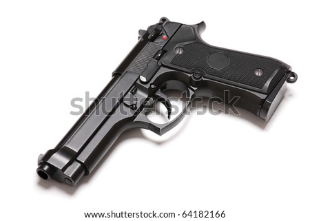 U.S. Army modern handgun M9 close-up. Isolated on a white background. Tilt view. Studio shot. Weapon series. - stock photo
