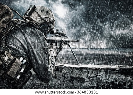 U.S. Army sniper - stock photo