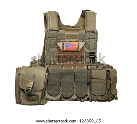 U.S. Army tactical bulletproof vest. Isolated on a white background. Studio shot - stock photo