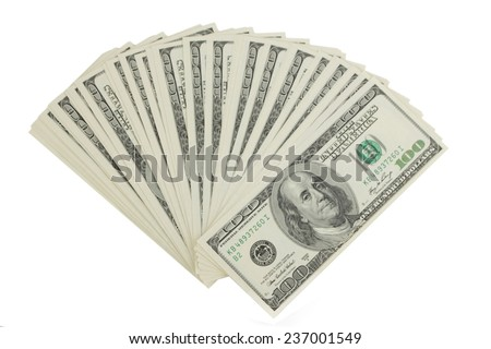 U.S. banknotes of one hundred dollars on finance theme - stock photo