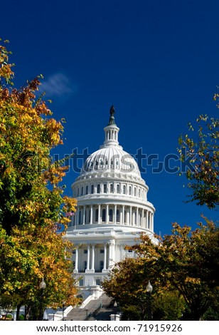 U.S. Capital dome building in the fall. Washington DC - stock photo