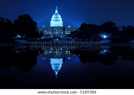 U.S. Capitol at night, Washington D.C. - stock photo