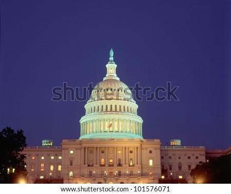 U.S. Capitol Building at night, Washington, D.C. - stock photo