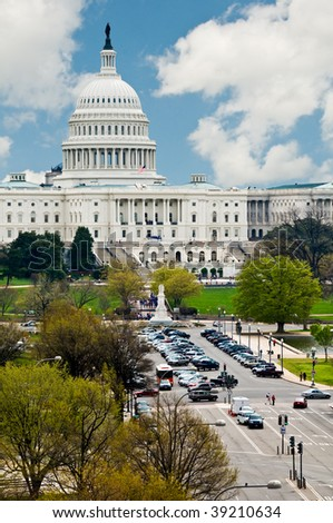 U.S. Capitol Building from above Pennsylvania Ave looking East - stock photo
