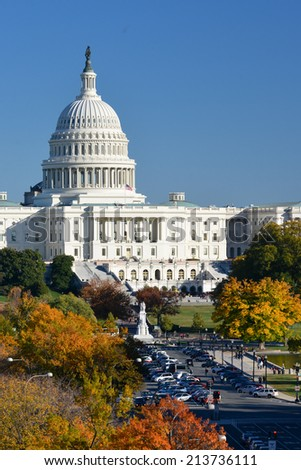 U.S. Capitol Building in Autumn - Washington D.C. United States of America  - stock photo