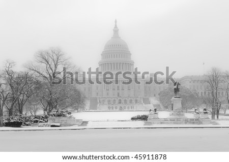 U.S. Capitol in Winter - stock photo