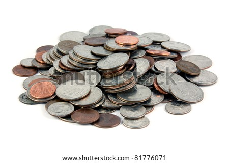 U.S. Coins shot on a white background - stock photo