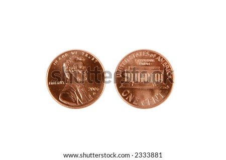 U.S. Currency, penny - stock photo