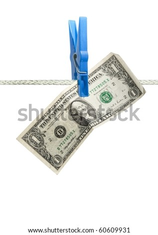 U.S. dollar on rope over white